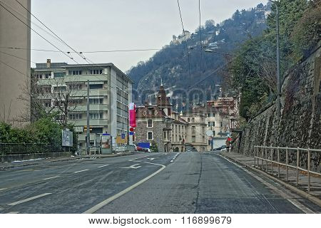 View from the road to Montreux city in Switzerland in winter. Montreux is a city in the canton of Vaud in Switzerland. It is located on Lake Geneva at the foot of the Alps.