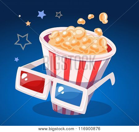 Vector Illustration Of Red And White Bucket With Popcorn And Cinema Glasses On Blue Background.