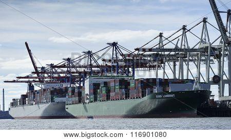 Container Ship At The Port Of Hamburg (hamburger Hafen), Germany