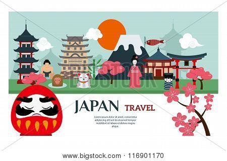 Japan landmark travel vector poster