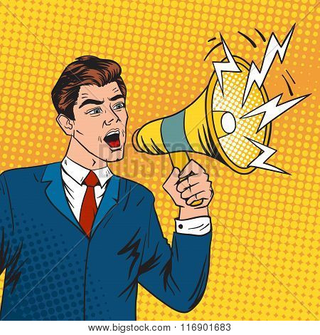 Pop art boss business leader and megaphone vector illustration