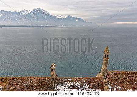 Lake Geneva View From Chillon Castle In Switzerland