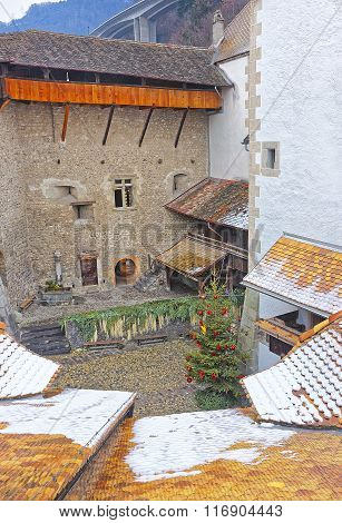 View From Chillon Castle Tower To Courtyard With Christmas Tree