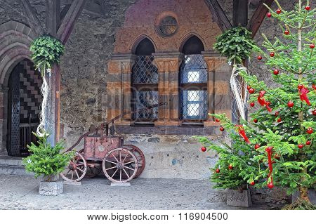View To Inner Bailey Of Chillon Castle With Christmas Tree
