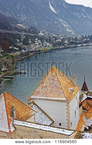 VEYTAUX SWITZERLAND - JANUARY 2 2015: View to Montreux from Chillon Castle Towers. It is an island castle on Lake Geneva (Lac Leman) in the Vaud between Montreux and Villeneuve.