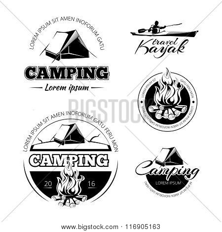 Camping and hiking vectro labels emblems badges set