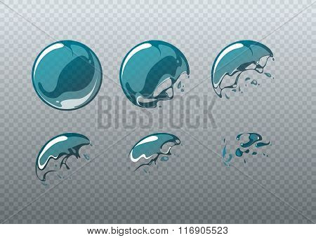 Soap bubble bursting. Animation frames set in cartoon style