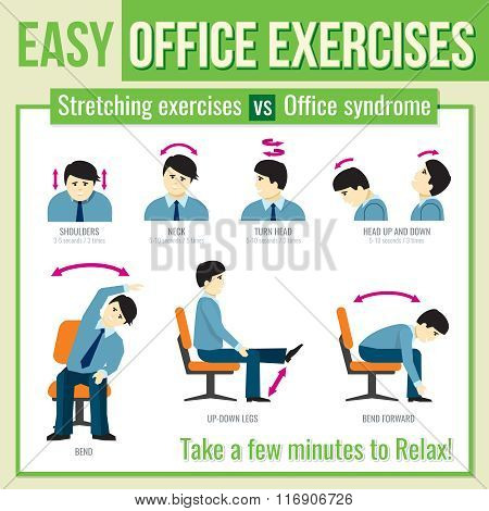 Office exercises with businessman character. Vector infographic