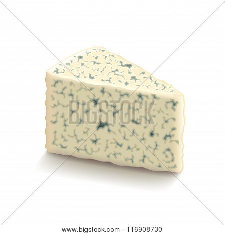 Blue Cheese Isolated On White Vector