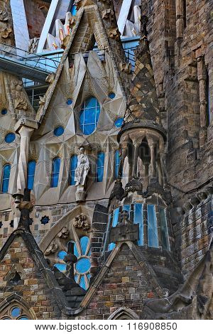 BARCELONA, SPAIN - MAY 10,2014: Detail of the exterior of the Sagrada Familia designed by Gaudi