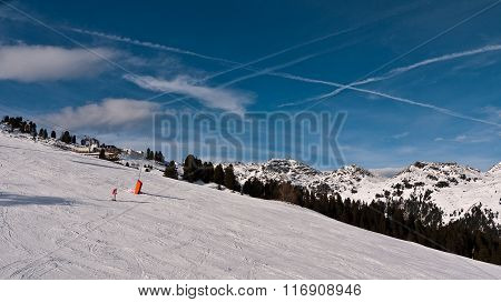 Traces Of Planes In The Sky Over The Alps