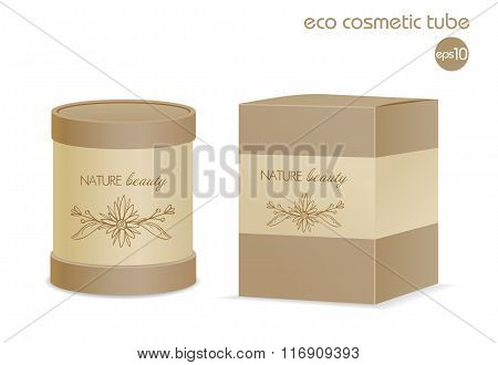 Brown eco cosmetic tube