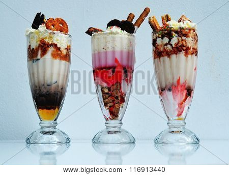 Contaminated milkshakes  with different taste and lots of candys and waffers