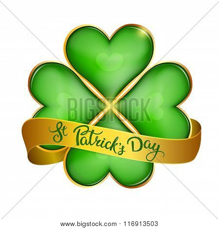 Clover Leaf  And Original Handwritten Text St Patrick's Day