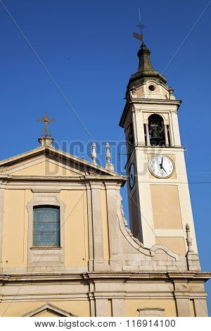 Castano Primo   T In  Italy   The   Wall  And Church Tower Bell Sunny Day