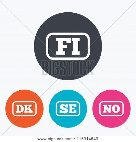 Language icons. FI, DK, SE and NO translation.