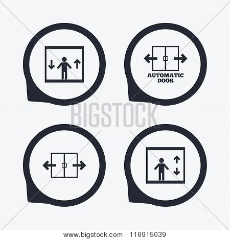 Automatic door icons. Elevator symbols. Auto open. Person symbol with up and down arrows. Flat icon pointers. poster