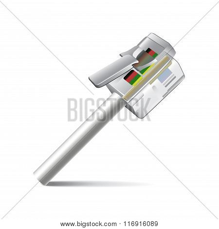 Internet Cable Isolated On White Vector