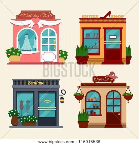 Vector illustration of buildings that are shops for buying presents. Set of nice flat shops. Differe