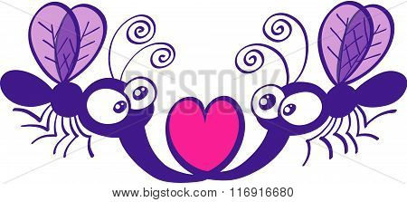 Cute mosquitoes in love