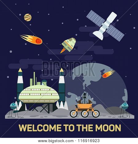 Vector flat illustration of moon colony with comets, meteors, craters, satellites, bases, rover, shu