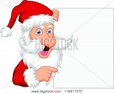 vector illustration of Santa clause with blank sign isolated on white