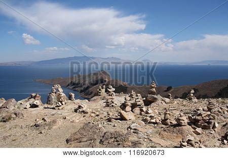 Stone pyramids at Isla del Sol, Lake Titicaca, Bolivia
