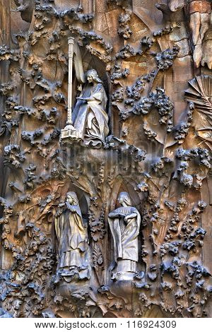 BARCELONA, SPAIN - MAY 10,2014: Detail of the exterior of the Sagrada Familia