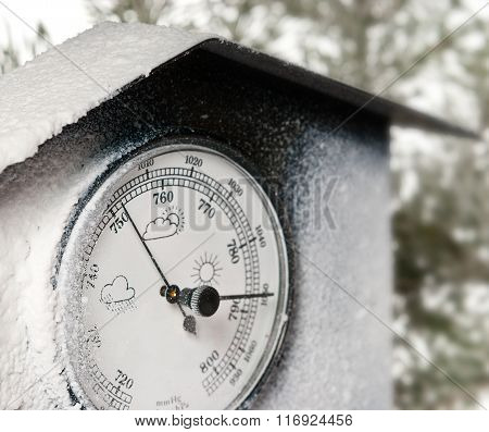 Detail Of Barometer With White Frost