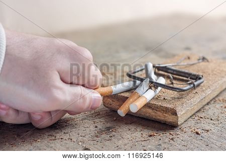 Antismoking background with broken cigarettes in a trap. Quit smoking