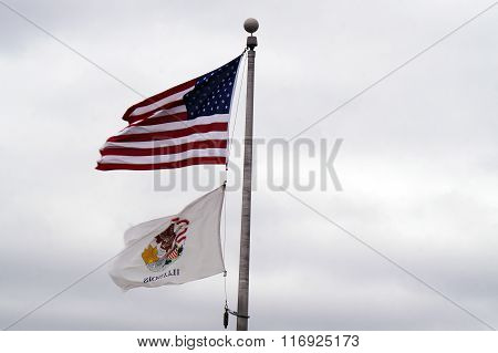 American Flag and Illinois State Flag