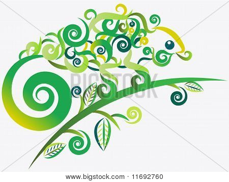 Abstract Green Chameleon