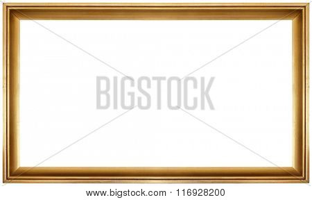 Simple Golden Frame Isolated on White Background