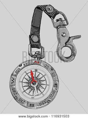 Tourist compass - vector black and white illustration