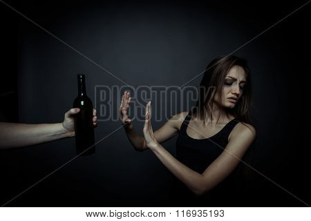 The Social Problem. Young Unhappy Woman, Rejection Of Bad Habits
