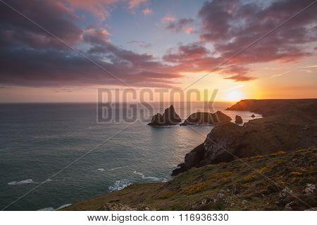 Rugged Coastal Sunset In Cornwall