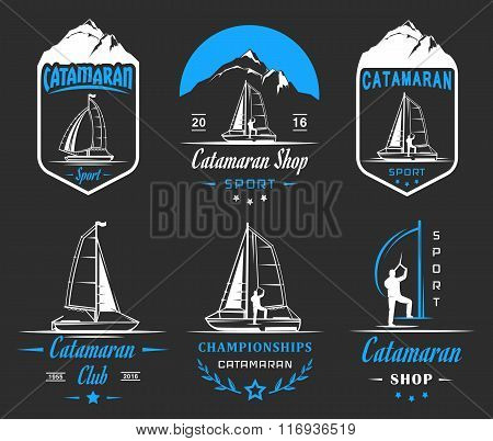 Set of yacht and catamaran logos and badges. Collection sign and emblems pro sailing catamaran club and shop - Stock Vector