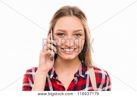 Cheerful Cute Young Pretty Girl Speaking On Mobile Phone