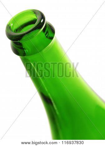 Rim of green empty bottle.