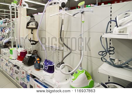 Moscow Russia - February 02. 2016. steamers irons in the Eldorado large chain stores selling electronics and household appliances