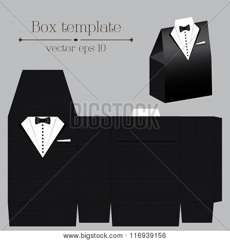 Vector Tuxado Box Template. Black Color