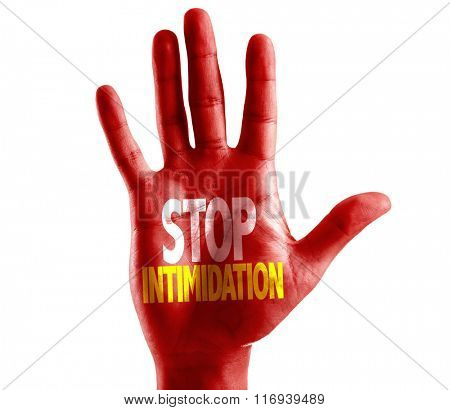 Stop Intimidation written on hand isolated on white background