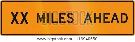 Road Sign Used In The Us State Of Virginia - Xx Miles Ahead