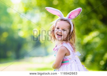 Little Girl With White Board For Easter Greetings