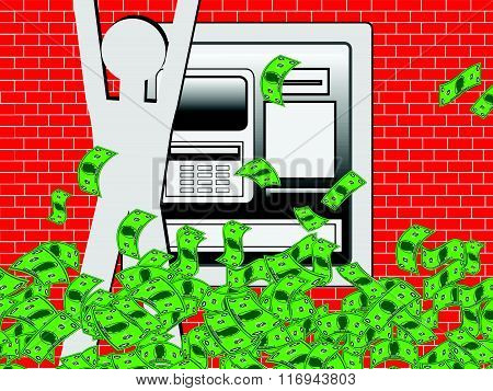 Jubilant man celebrating as an atm machine releases large amounts of cash (Vector)