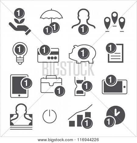 flat vector icons moder style. Money saving and mutilplying icons.