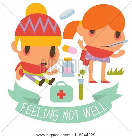 Flat illustrations of human disease kids. Funny cute personages suitable for apps illustrations, card, sticker, banner, package designs. Colorful logos or icons around.