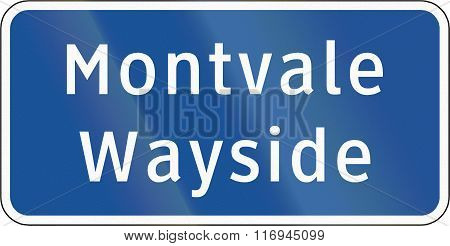Road Sign Used In The Us State Of Virginia - Montvale Wayside