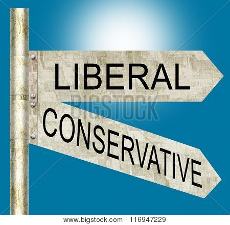 Liberal Conservative Road Signs