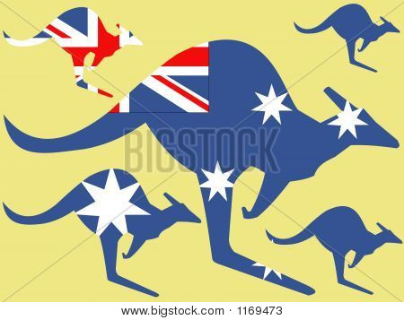 Kangeroo And Australian Flag